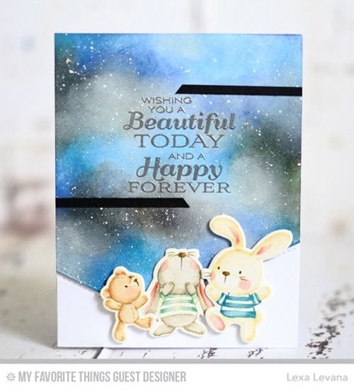Handmade card from Lexa Levana featuring Lisa Johnson Designs Together Forever stamp set, Snuggle Bunnies stamp set and Die-namics, Stitched Basic Edges Die-namics #mftstamps