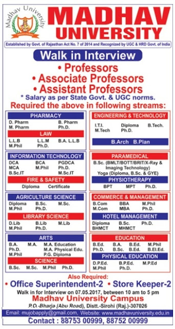 madhav university wanted professor    associate professor    assistant professor