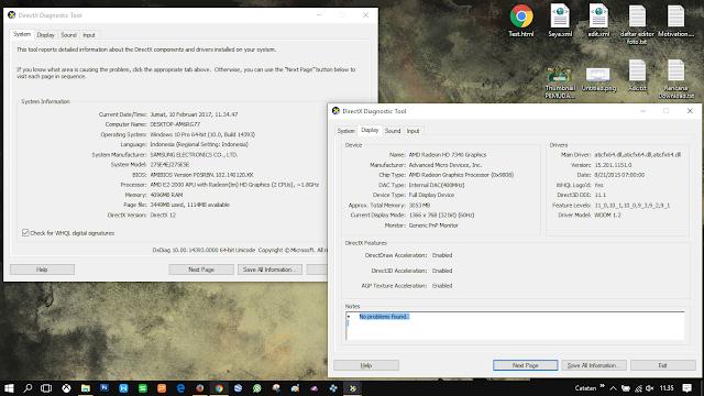 Cek spesifikasi PC/Laptopmu menggunakan Dxdiag