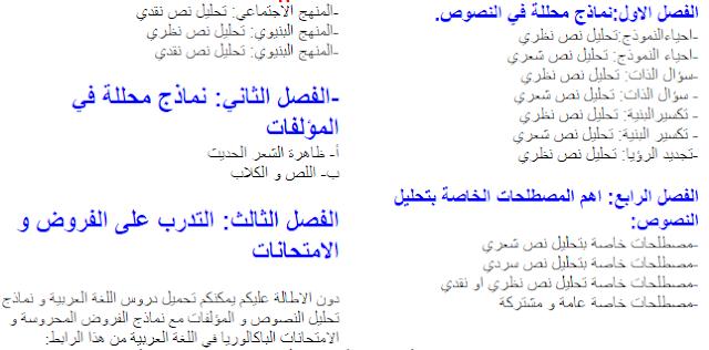 هام لتلاميذ السنة الثانية باك ادب و علوم انسانية دروس اللغة العربية في ملف واحد