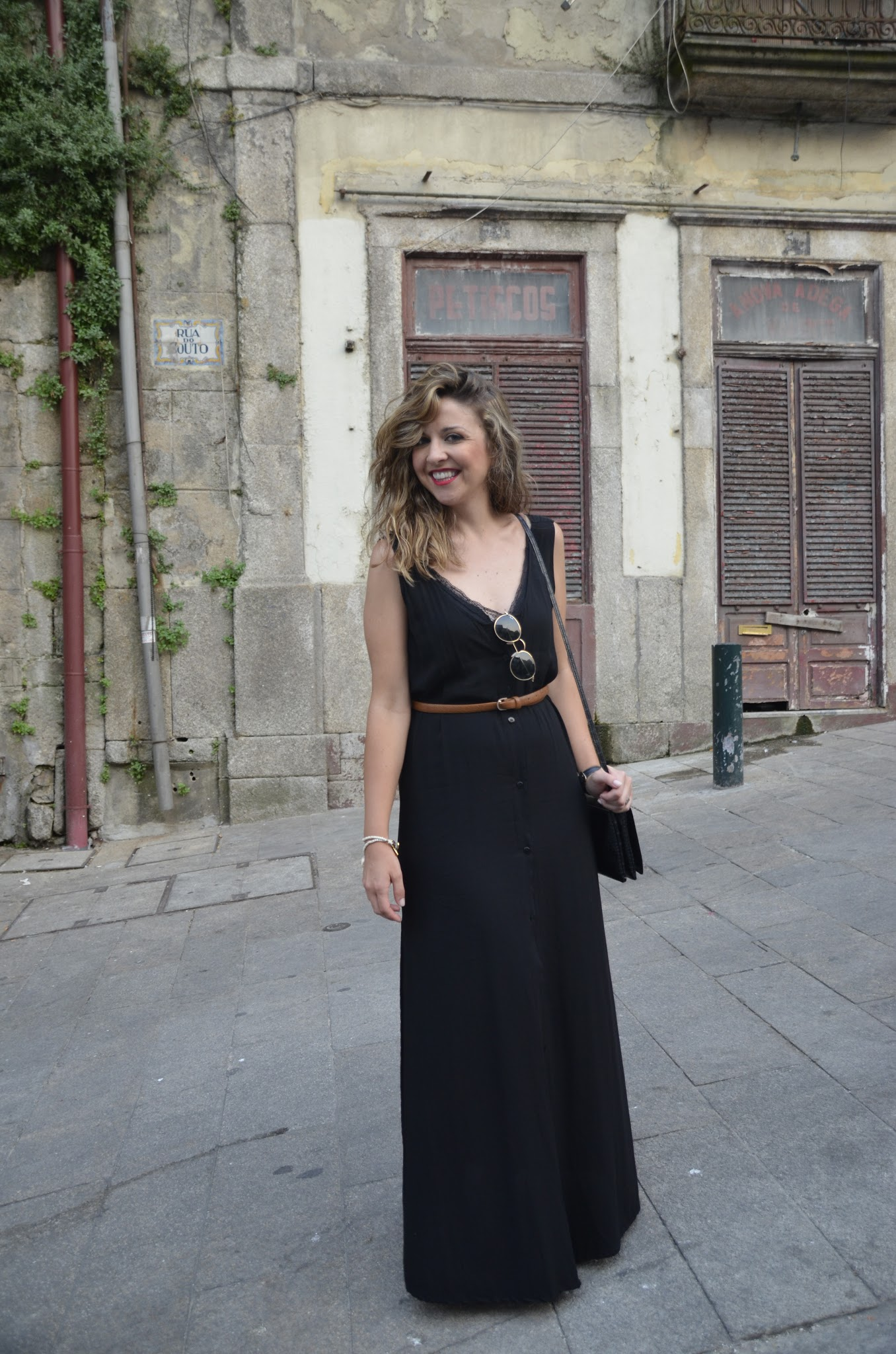 how to wear a casual black long dress