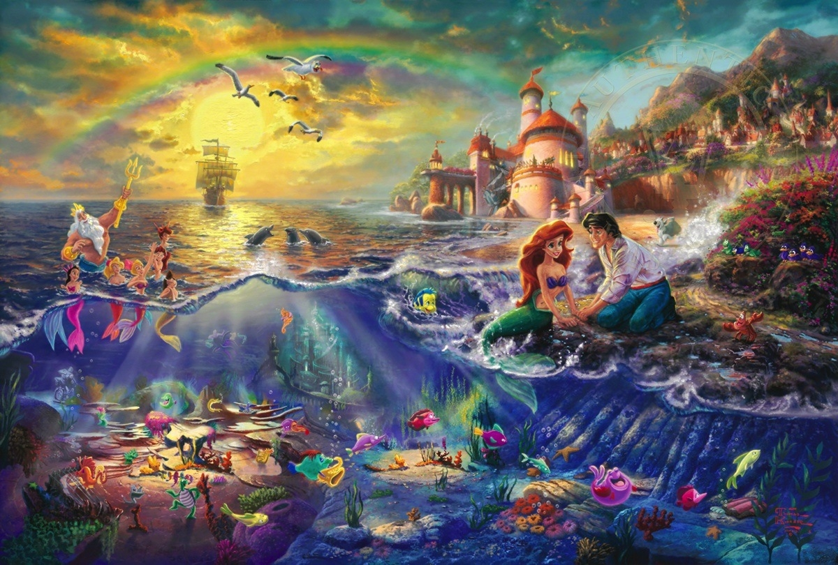 03-The Little Mermaid-Thomas-Kinkade-Walt-Disney-Stories-Seen-Through-Paintings-www-designstack-co