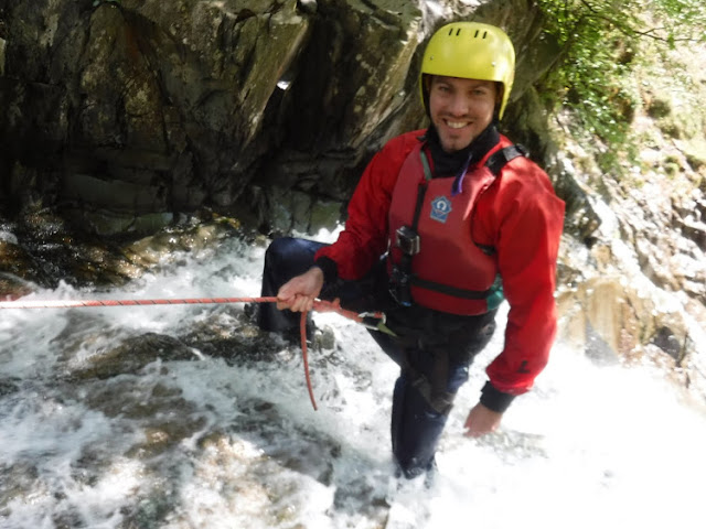 Abseiling down the waterfall in Coniston
