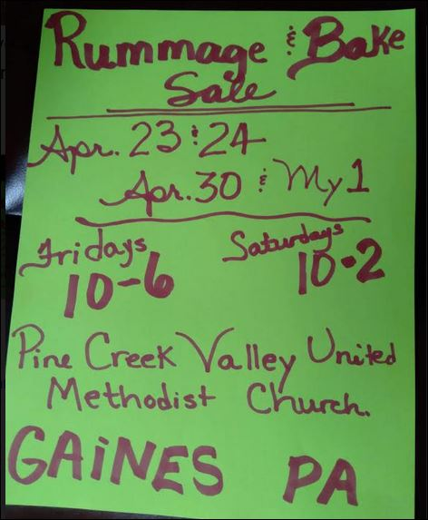 4-23/24;4-30/5-1 Rummage & Bake Sale, Gaines, PA