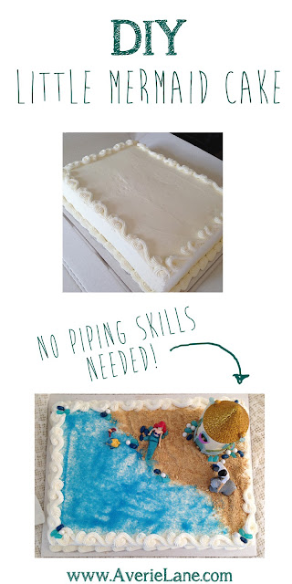DIY Little Mermaid Cake Tutorial using a costco cak and a disney play set