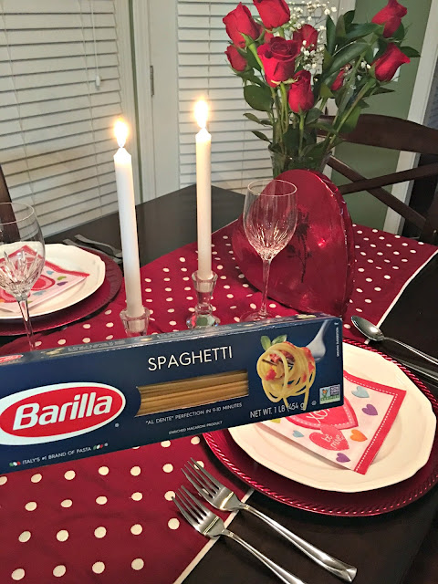 A romantic Valentine's Dinner with Barilla Classic Blue Box Spaghetti