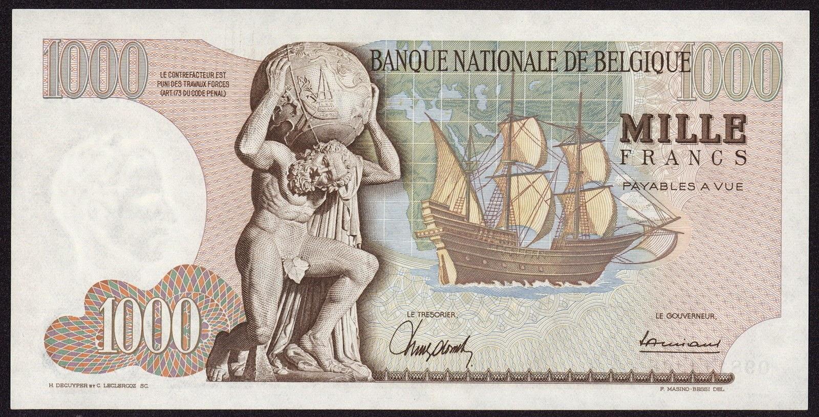 Belgium Banknotes 1000 Francs bank note 1964 Farnese Atlas holding globe