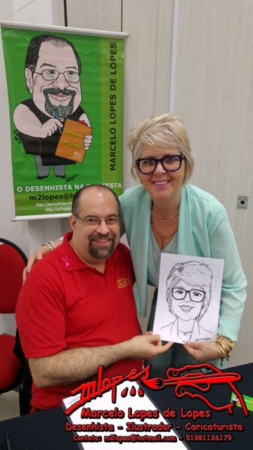 Presidente da CDL Santa Maria, Marli Rigo, retratada pelo Desenhista Marcelo Lopes de Lopes