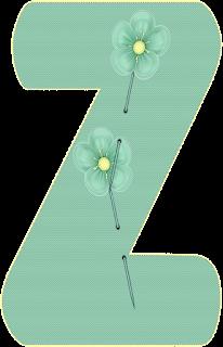 Abecedario de Costura con Alfileres de Flores. Sewing Alphabet with Flowers Pins.