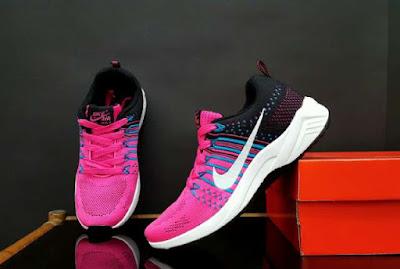Sepatu Nike Free Flyknite Women (import) Pink Black