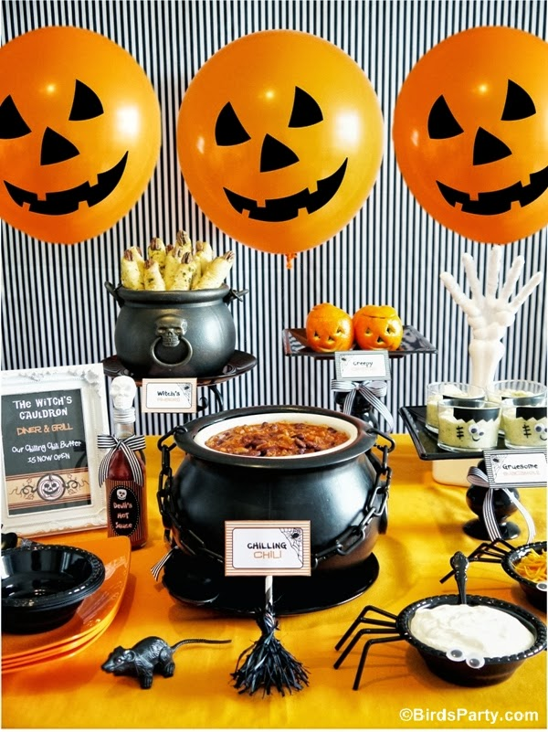 Buffet Style Dinner Party Menu Ideas Part - 23: A Halloween Chilling Chili Party Buffet - BirdsParty.com