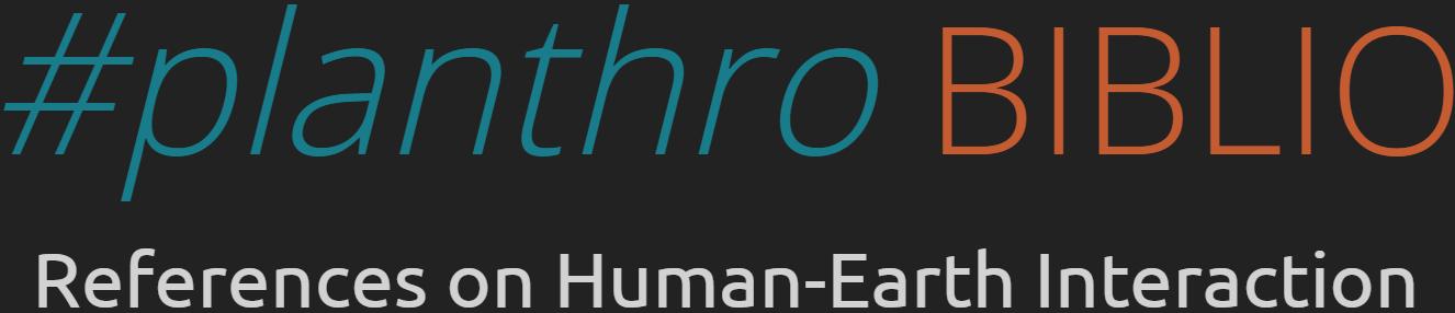 #planthro BIBLIO | Platform anthropocene Inc.