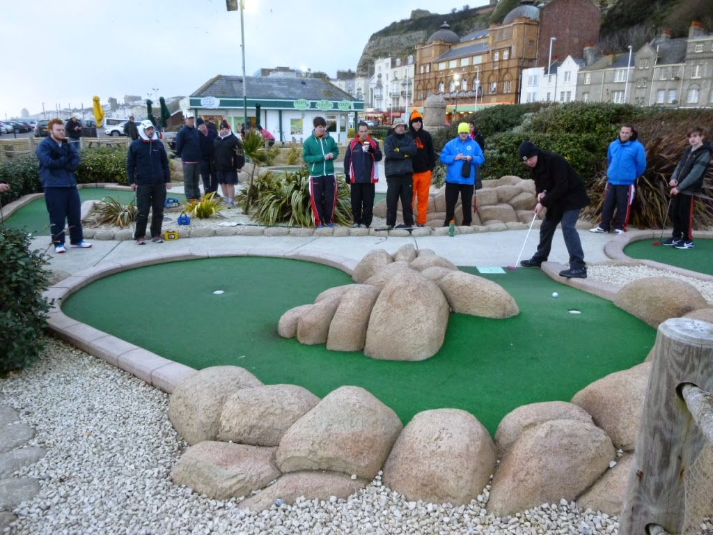 Minigolfer Richard Gottfried playing the 15th hole in the final of the BMGA British Club Championships in Hastings