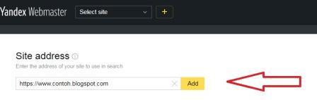Cara menambahkan URL blog ke Yandex
