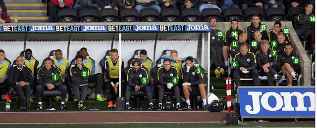 Vị trí chỗ ngồi của ban huấn luyện Man City