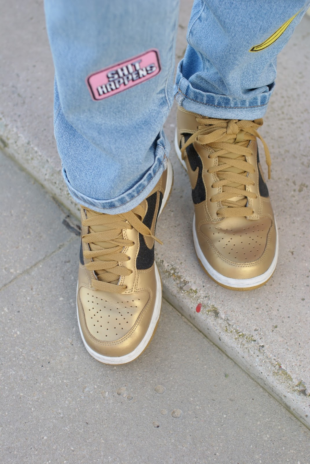 Nike golden trainers, Nike sneakers and shit happens patch on Fashion and Cookies fashion blog, fashion blogger style