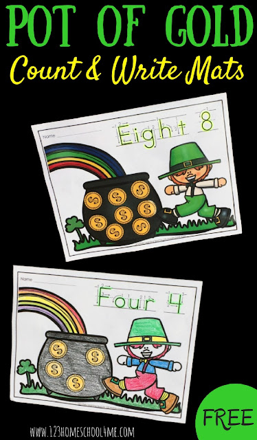 FREE St Patricks Day Count and Write mats are such a fun way for toddler, preschool, prek, and kindergarten age kids to practice writing numbers and letters whiel improving fine motor skills with these St Patricks Day Math Coloring Sheets (homeschool)