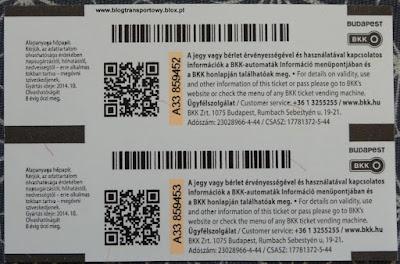 BKK Budapest, bilet 24-godzinny