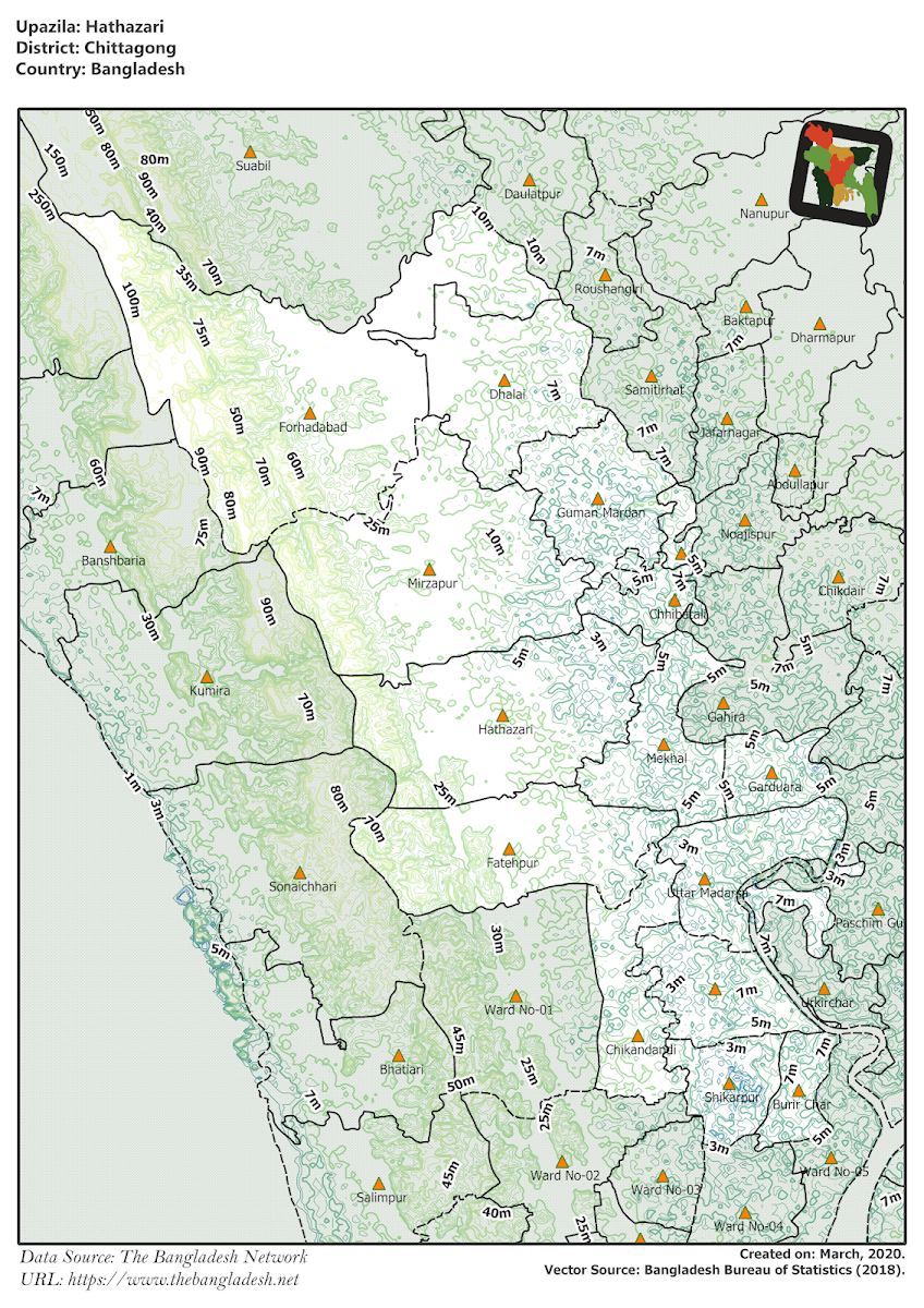 Hathazari Upazila Elevation Map Chittagong District Bangladesh