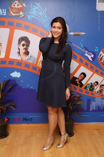 Actress Mannara Chopra Stills in Blue Short Dress at Rogue Song Launch at Radio City 91.1 FM  0082.jpg