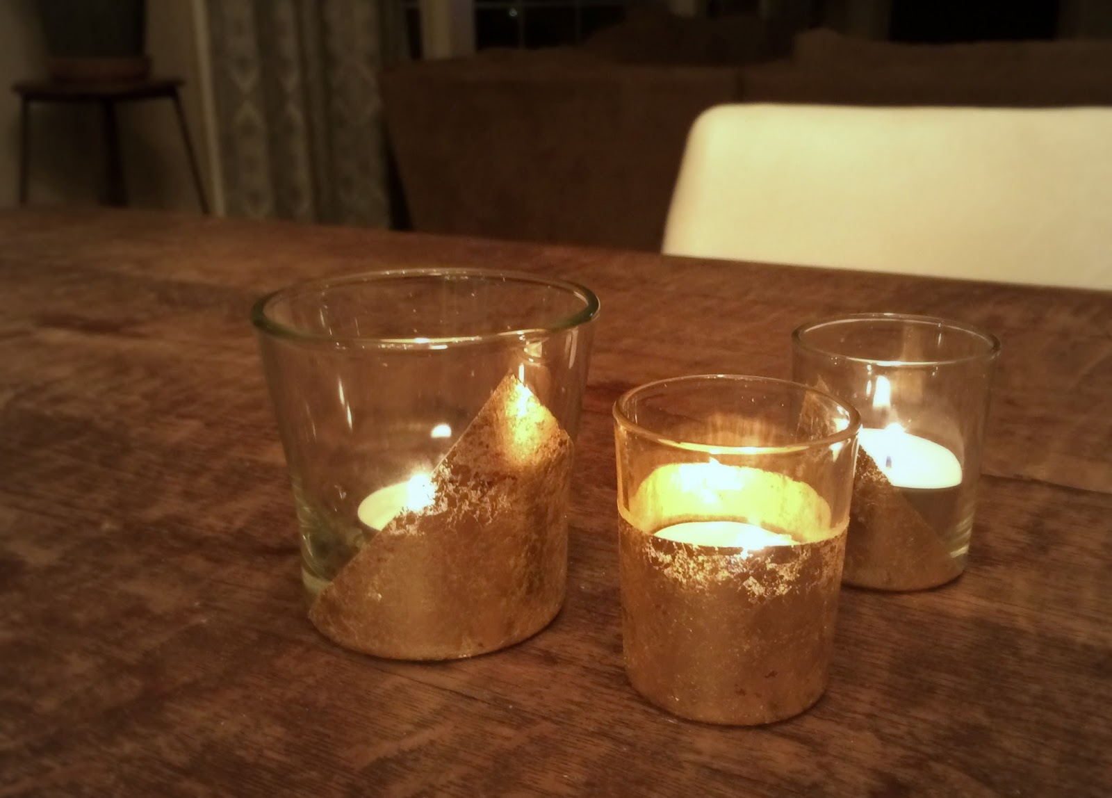 Diy Gold Candle Holders 58 Water Street Diy Geometric Gold Leaf Votives