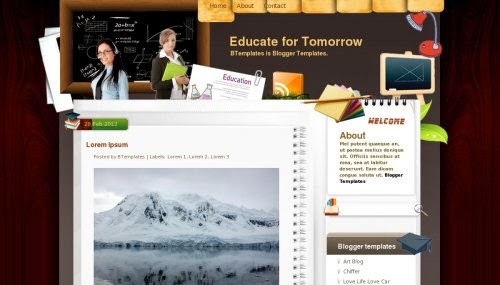 educate for tomorrow blogger template 2014 for blogger or blogspot,free download education blogger template,theme education blogger for blogspot 2014 2015,professional blogger template 2014 2015,white and brown color combination blogger template 2014 2015