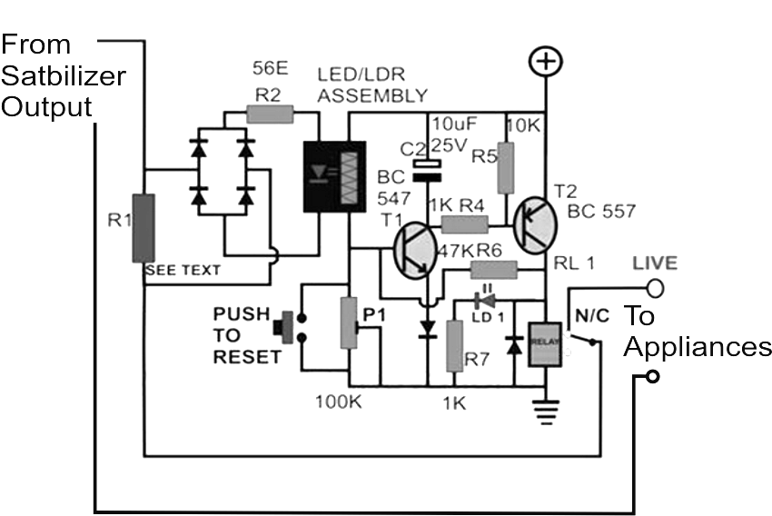 home power supply voltage stabilizer circuit with ldr