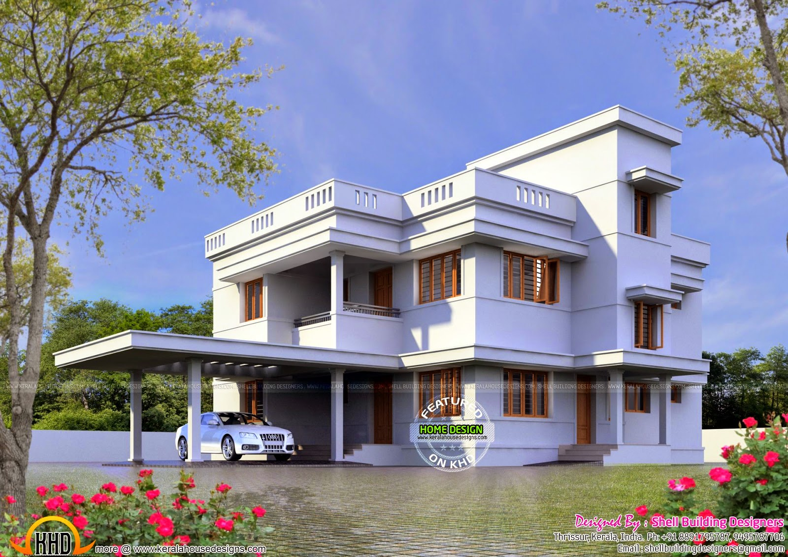 3397 Square Feet Flat Roof Style Home Home Design Simple