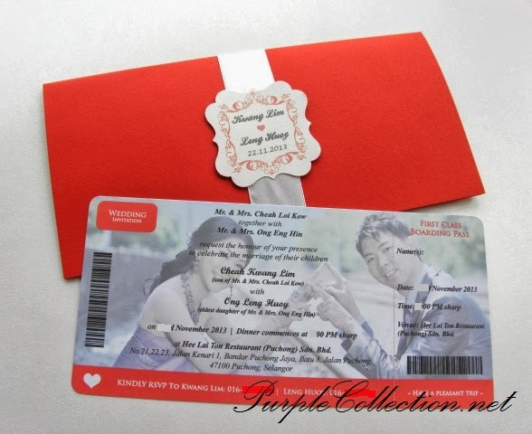 boarding pass card, wedding, invitation, invites, red, white, photographs, printing, offset, digital, puchong, kuala lumpur, handmade, travel wedding card, passport, unique, special, chinese, card