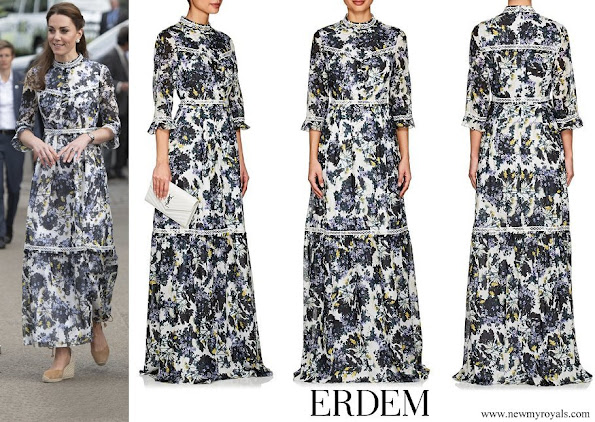 Kate Middleton wore Erdem Shebah Floral Cotton-Silk Gown