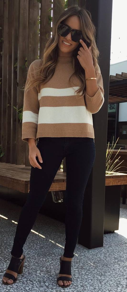 casual style inspiration / stripped top + black skinnies + open toes heels