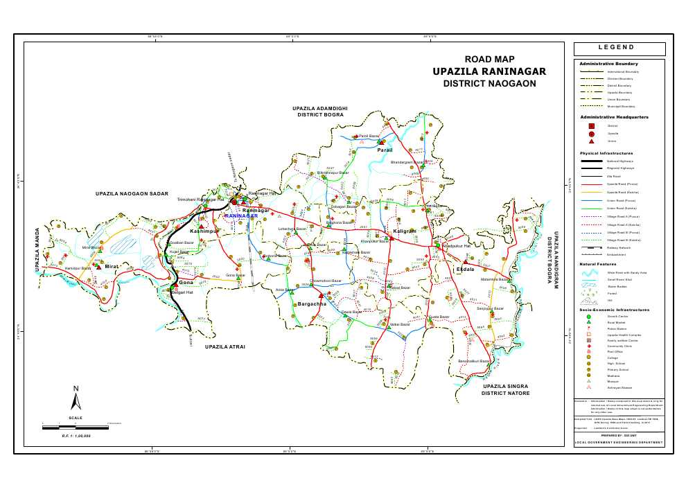 Raninagar Upazila Road Map Naogaon District Bangladesh