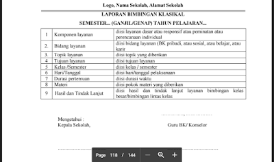 Laporan Layanan Konseling Individual dan Laporan Layanan Klasikal, serta Laporan Bimbingan Kelompok dan Laporan Bimbingan Klasikal