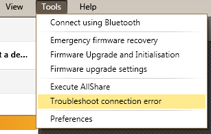 Kies Troubleshoot connection error