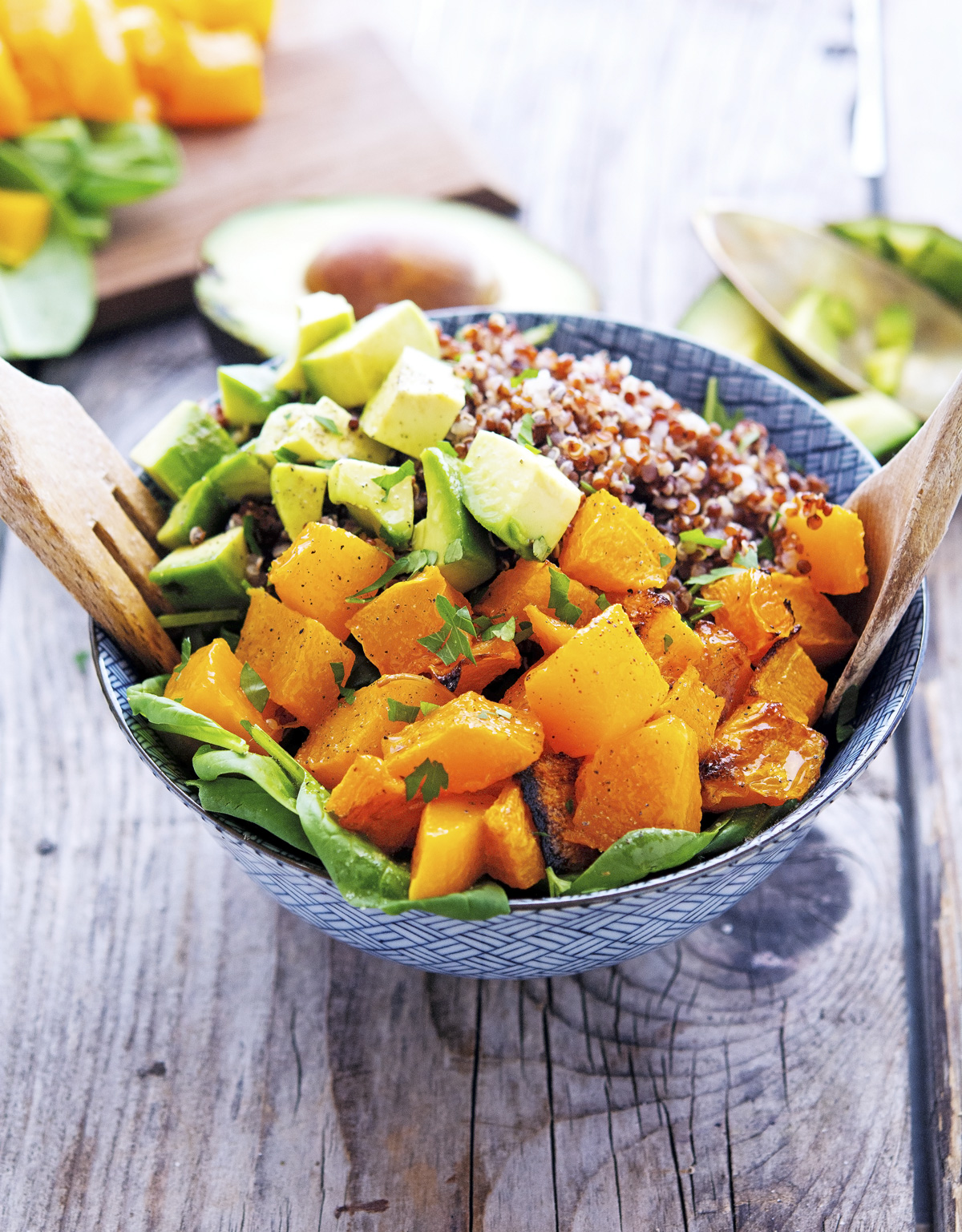 Roasted Butternut Squash Quinoa and Spinach Salad