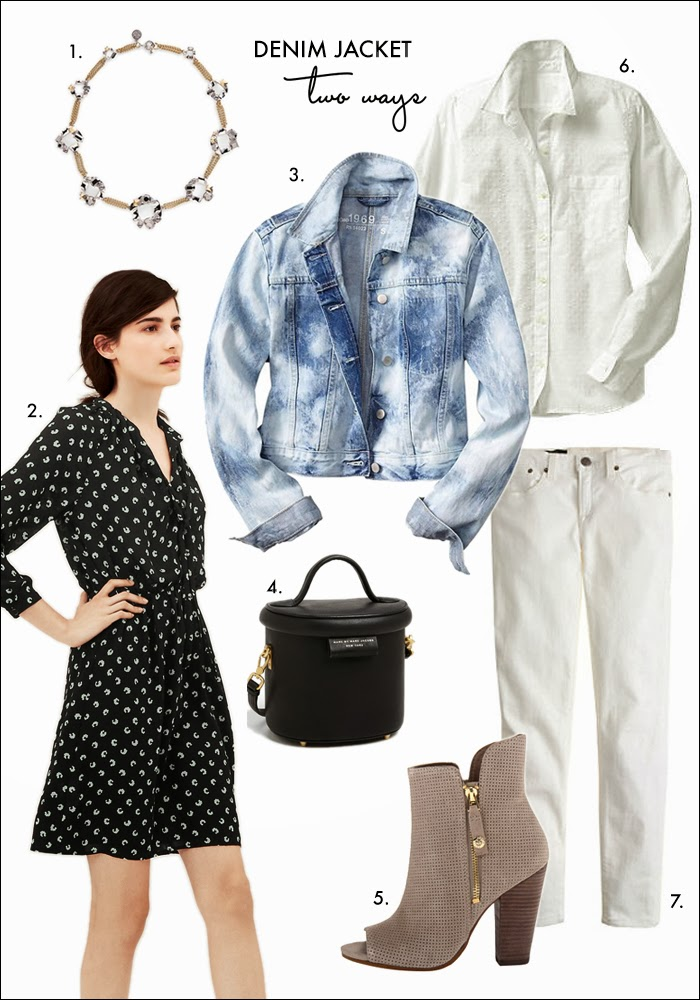 denim jacket, 80s trend, polka dots, stone necklace, jean jacket, gap, nordstrom, marc jacobs, how to wear blouse dress, how to wear skinny jeans