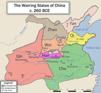 Peta kekuasaan dinasti Qin 260 SM