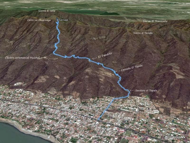 Ruta de ascenso Ajijic - El Tepalo - El Pandito - La Chupinaya