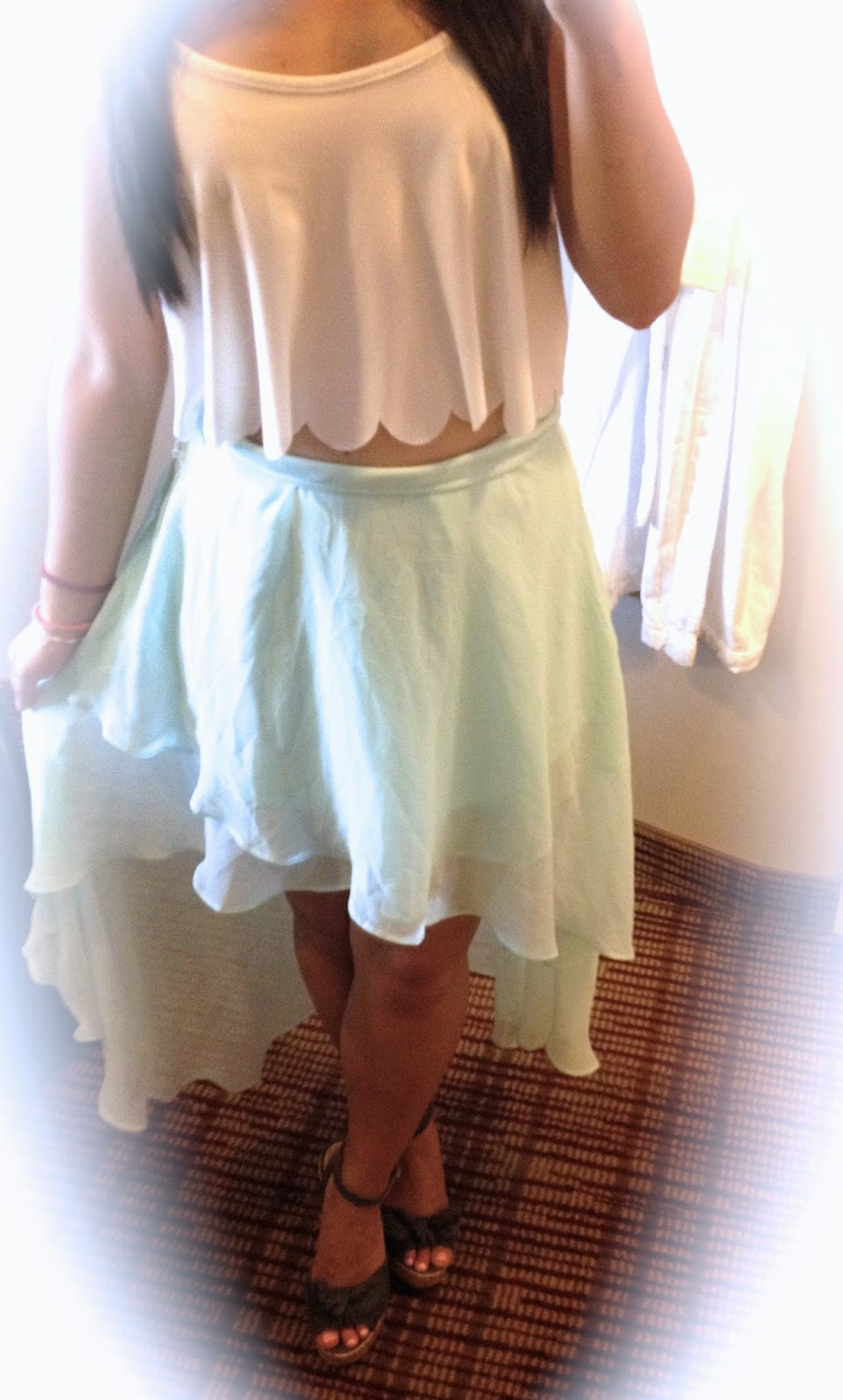 High Low Mint Skirt andBow Denim Wedges (lifeasapetite)