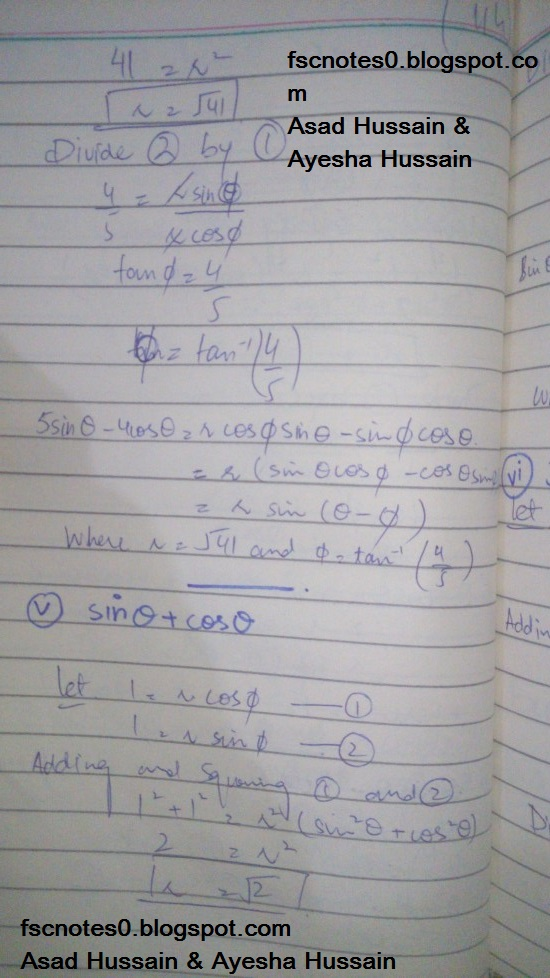 FSc ICS FA Notes Math Part 1 Chapter 10 Trigonometric Identities Exercise 10.2 Question 14 Written by Asad Hussain & Ayesha Hussain 3