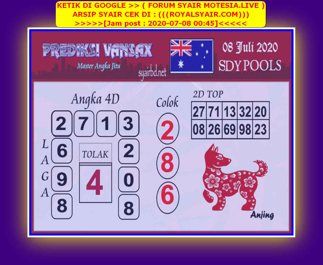 Kode syair Sydney Rabu 8 Juli 2020 195