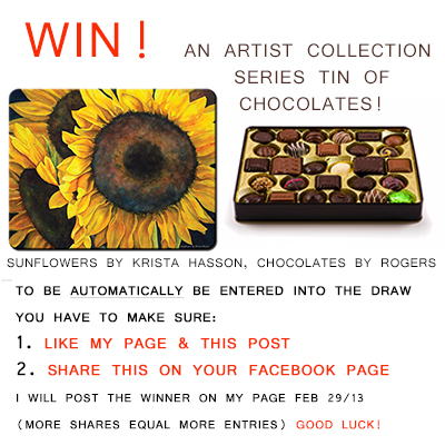 """Win A Tin Of Chocolates with a picture of Krista Hasson's painting """"Sunflowers"""" on it."""