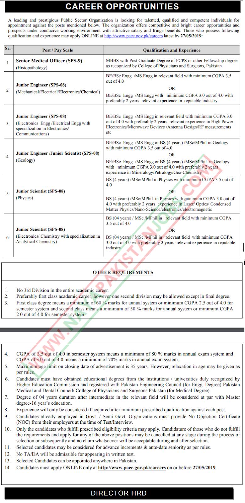 Atomic Energy PAEC Jobs 2019 May by paec.gov.pk