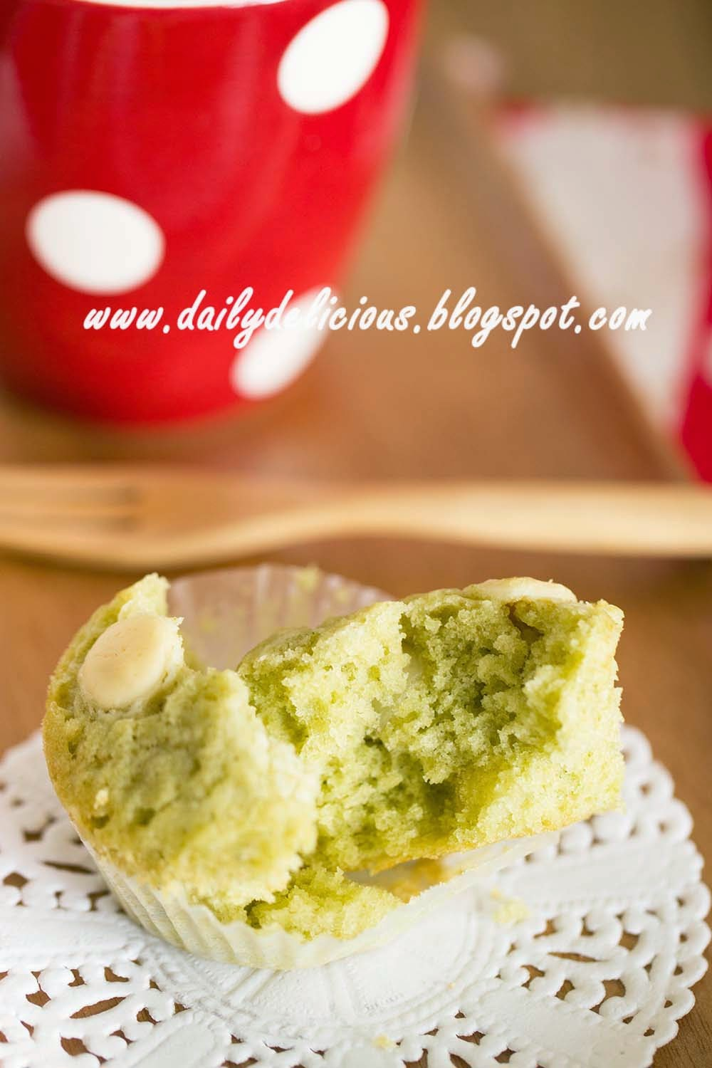 Green tea White chocolate muffins