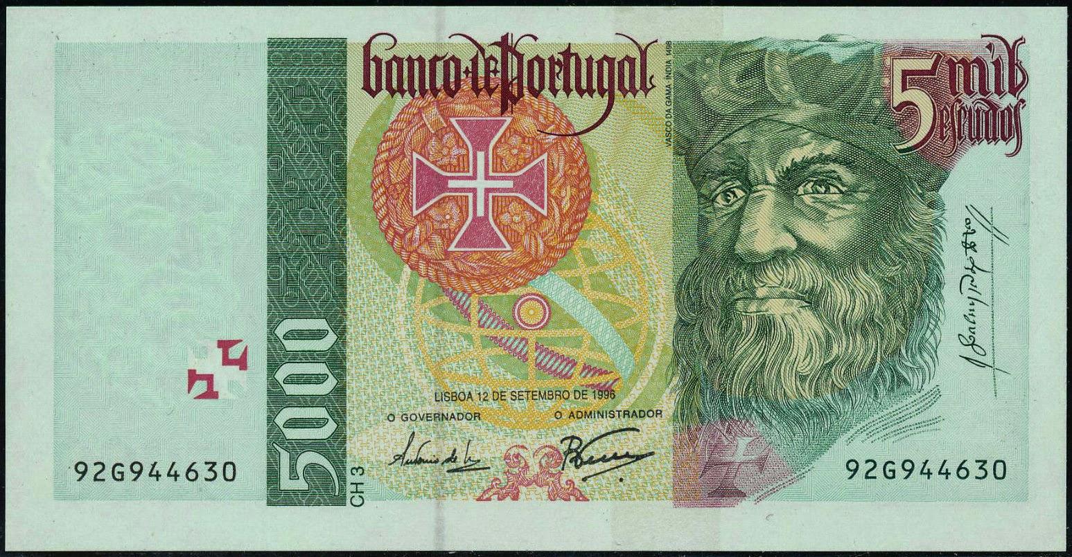 portugal 5000 escudos banknote 1996 vasco da gama
