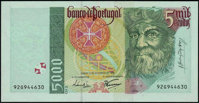 Portugal Banknotes 5000 Escudos banknote 1996 Vasco da Gama