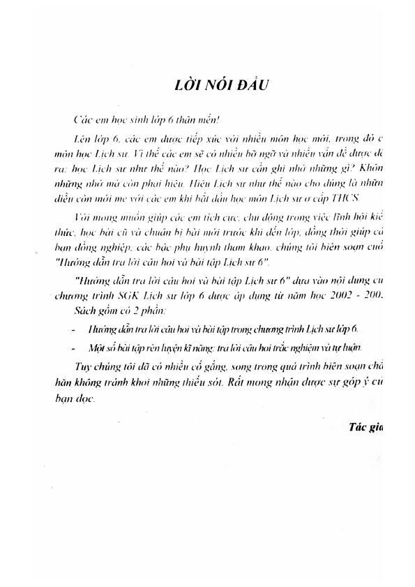 Trang 3 sach Hướng Dẫn Trả Lời Câu Hỏi và Bài Tập Lịch Sử 6 - Tạ Thị Thúy Anh