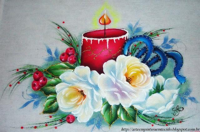 pintura em tecido vela de natal