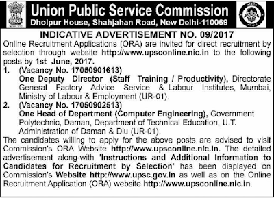 UPSC Advertisement No. 09/2017 Apply Online Application Form