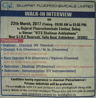 FLUOROCHEMICAL Ltd Walk in Interview